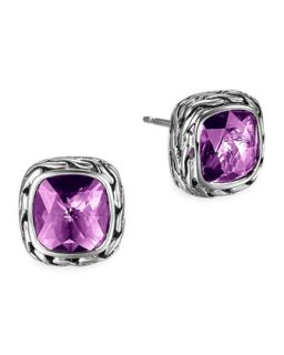 Batu Chain Amethyst Stud Earrings   John Hardy   Silver