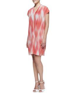 Womens Dallas Short Sleeve Printed Shift Dress   Elie Tahari   Coral reef
