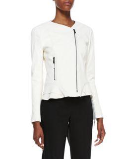 Womens Erin Silk Peplum Moto Jacket, Ivory   Elie Tahari   Ivory (X LARGE)