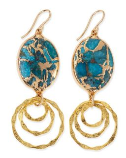 Blue Turquoise Top Hoop Drop Earrings   Devon Leigh   Turquoise/Blue
