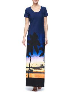 Womens Sunset Palm Tree Long T Shirt Dress   Tommy Bahama   Multi (SMALL)