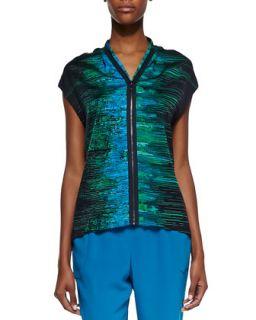 Womens Dallas Silk Iridescent Print Cap Sleeve Blouse   Elie Tahari   Navy