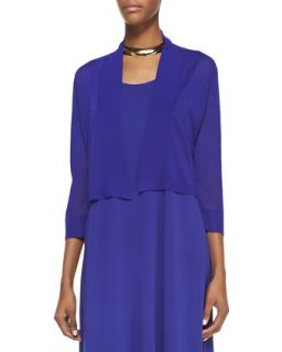 Womens Crinkle Cropped Cardigan, Blue Violet   Eileen Fisher   Blue violet