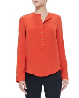 Womens Button Placket Blouse, Citrus Red   Derek Lam   Citrus red (42)