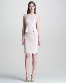 Womens Sleeveless Lace Peplum Front Dress   Emilio Pucci   Nude (42/8)