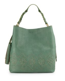 Mary Diamond Stitched Leather Hobo Bag, Sage   Isabella Fiore