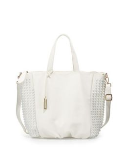 Angie Tonal Studded Tote Bag, White   Urban Originals