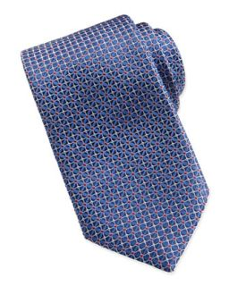Mens Mix Square Pattern Silk Tie, Bright Blue   Brioni   Bright blue
