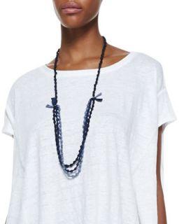 3 Strand Bindu Silk Beaded Necklace, Denim   Eileen Fisher   Denim (ONE SIZE)