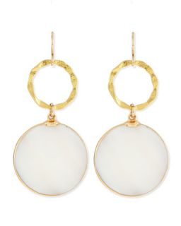 Mother of Pearl & Gold Foil Earrings   Devon Leigh   Gold