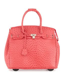 Kendall Ostrich Embossed Rolling Bag, Red   KC Jagger
