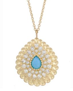 Peacock Pear Pendant Necklace with Turquoise and White Topaz   Jamie Wolf