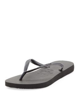 Slim Metallic Flip Flop, Black   Havaianas   Black (41/42)