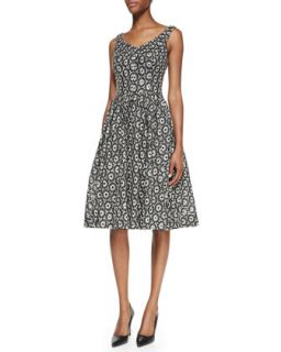 Womens Sleeveless Jacquard Party Dress   Ali Ro   Black/White (10)