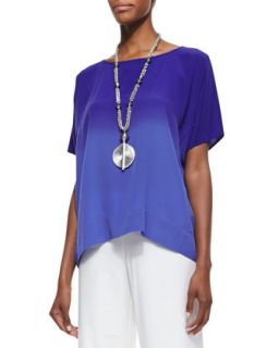 Short Sleeve Ombre Top, Blue Violet, Womens   Eileen Fisher   Blue violet (3X