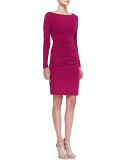 Womens Long Sleeve Boat Neck Ruched Jersey Dress   Nicole Miller   Fuchsia