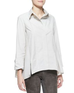 Womens Long Sleeve Button Up Cotton Shirt, Dust   Donna Karan   Dust (10)