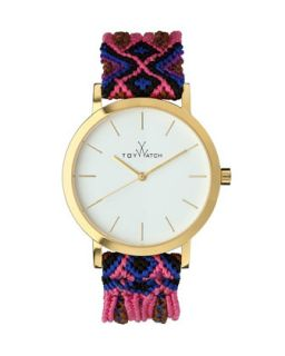 Maya Yellow Golden Watch with Crochet Band, Pink/Multi   Toy Watch   Pink/Purple