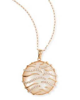 Luna Small 18k Pink Gold Mother of Pearl Pendant Necklace   Frederic Sage
