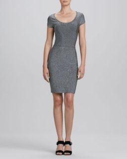 Womens Scoop Neck Heather Knit Dress   Erin by Erin Fetherston   Black/White