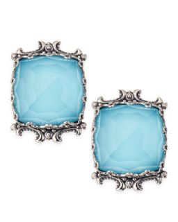 Turquoise & Rock Crystal Doublet Stud Earrings   Konstantino   Turquoise