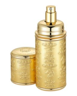 Logo Etched Leather Atomizer, Gold/Gold   Creed   Gold