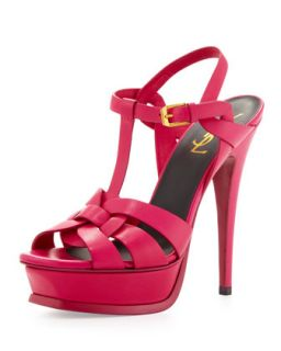 Tribute High Heel Leather Sandal, Fuchsia   Saint Laurent   Fuchsia (38.5B/8.5B)