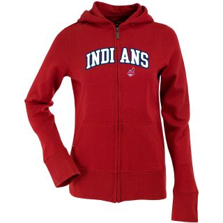 Antigua Womens Cleveland Indians Signature Hood Applique Full Zip Sweatshirt