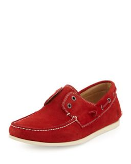 Mens Schooner Suede Boat Shoe, Red   John Varvatos Star USA   Red (7.5D)