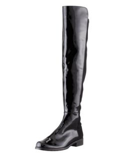 50/50 Patent Leather Knee High Boot, Black   Stuart Weitzman   Black (39.0B/9.