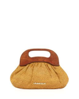 Addie Wooden Handle Bag, Tobacco   Elaine Turner