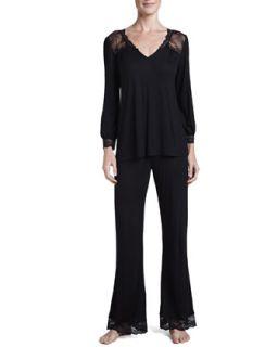 Womens Fiona Long Sleeve Lounge Tee & Pants Set, Black   Eberjey   Black