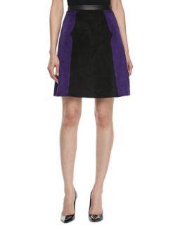 Womens Colorblock Suede A line Skirt, Violet/Black   Jason Wu   Violet/Black