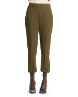 Womens Julia Stretch Cady Cuff Ankle Harem Pants, Loden   Stella McCartney