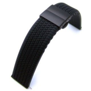 22mm Tire Tread Silicon Strap on Deployment Clasp for Sport Watch PVD Black B at  Women's Watch store.