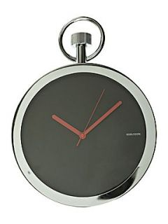 Present Time Chrome pocket watch wall clock