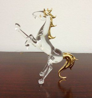 Beautiful glass horse animal figurine with gold trim   Collectible Figurines