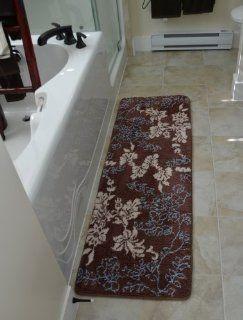 """Floral Brown 1pc Memory Foam Bath Mat 64""""x 20""""non slip Long Rug   Bath Runners"""
