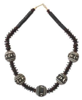 Ceramic and wood beaded necklace, 'Woman of Importance': Jewelry