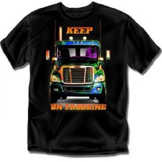 Freightliner Keep On Trucking Black Adult T Shirt   XXL Clothing