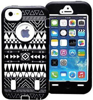 myLife (TM) White + Black Tribal Pattern Survival Armour Suit (Built in Screen Protector) 3 Layer Case for iPhone 5/5S (5G) 5th Generation iTouch Smartphone by Apple (Internal 2 Piece Snap On Hard Rubberized Plating + External Fitted Soft Silicone Bumper G