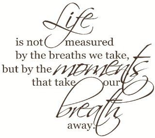 Wall D�cor Plus More WDPM1305 Life Isn't Measured by The Breaths You Take, But by The Moments That Take Your Breath Away Wall Vinyl Sticker Saying Decal 23 Inch W by 20 Inch H Chocolate   Decorative Wall Appliques