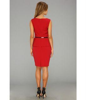 Ellen Tracy Sleeveless Origami Peplum Dress w/ Belt