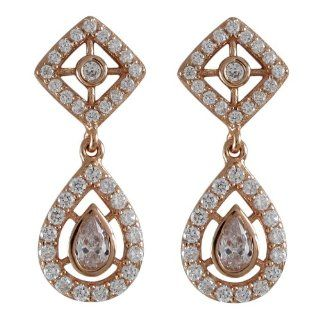 Rose Gold Tone Sterling Silver White CZ Diamond Shape Teardrop Earring Dangle Earrings Jewelry