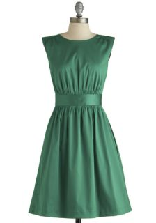 Emily and Fin Too Much Fun Dress in Emerald Satin  Mod Retro Vintage Dresses