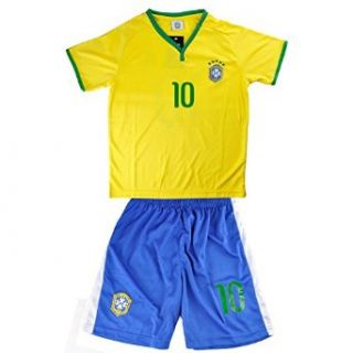 Little Hand Kids Brazil World Cup NO.10 Neymar Shirt Jersey & Shorts Set 3 13Y Clothing