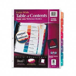 Avery Products   Avery   Extra Wide Ready Index Dividers, Eight Tab, 9 1/2 x 11, Assorted, 8/Set   Sold As 1 Set   Taller and wider for use with top loading 9 x 11 sheet protectors.   2 in 1 tabs let you choose between portrait and landscape formats.   The