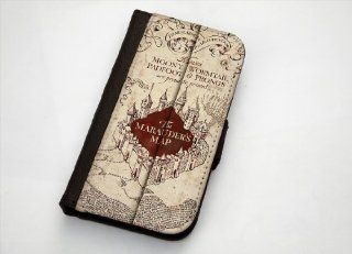 Harry Potter Marauders Map Inspired Samsung Galaxy S4 Leather Wallet Case By Case Envy: Cell Phones & Accessories
