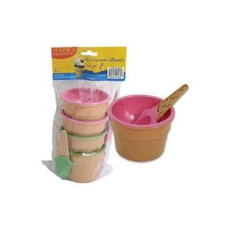 8 Pieces Plastic Ice Cream Bowls with Spoons, Pink & Green, Looks Like an Ice Cream Cone!: Kitchen & Dining