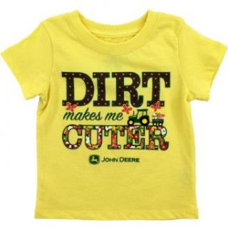 "John Deere ""Dirt Makes Me Cuter"" Yellow Toddler T Shirt (4T): Clothing"